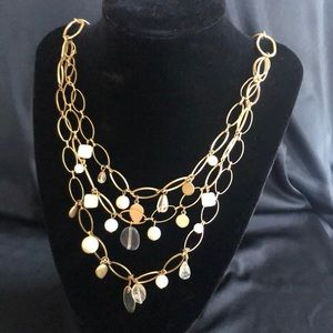 Gold tone layered necklace